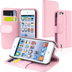 eForCity - Leather Wallet Case with Card Holder for iPod® touch 5th Generation - Pink