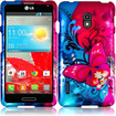 Insten - Butterfly Bliss Hard Case Cover For LG Optimus F7 LG870 (Boost Mobile) / Optimus F7 US780 - Blue, Red