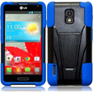 Insten - Dual Layer Hybrid Stand Case Cover For LG Optimus F7 LG870 (Boost Mobile) / Optimus F7 US780 - Black, Blue