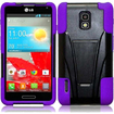 Insten - Dual Layer Hybrid Stand Case Cover For LG Optimus F7 LG870 (Boost Mobile) / Optimus F7 US780 - Black, Purple