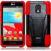Insten - Dual Layer Hybrid Stand Case Cover For LG Optimus F7 LG870 (Boost Mobile) / Optimus F7 US780 - Black, Red