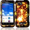Insten - Hard Rubberized Design Cover Case For Motorola Defy XT XT556 - Gold Star