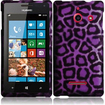 Insten - Hard Rubberized Design Case Cover for Huawei Ascend W1 H883G - Purple leopard