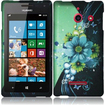 Insten - Hard Rubberized Design Case Cover for Huawei Ascend W1 H883G - Sublime Flower