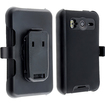 eForCity - Hybrid Silicone Plastic Case w/ Holster for HTC Inspire 4G / Desire HD / Ace - Black Hybrid