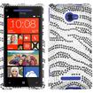 Insten - Zebra Skin Diamante Case Cover for HTC Windows Phone 8X - Black Zebra Diamante