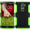 Insten - Advanced Armor Dual Layer Hybrid Stand Case For LG G2 D800 AT&T / G2 D801 / G2 LS980 Sprint - Black, Neon Green