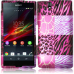 Insten - Hard Rubberized Design Cover Case For Sony Xperia Z - Pink Exotic