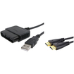eForCity - Bundle For PlayStation Game PS2 to PS3 USB Controller Adapter + 10Ft Hi-Speed HDMI Cable