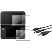 eForCity - Top + Bottom Screen Protector + Mini Micro USB Cable Bundle For Nintendo 3DS XL N3DS - Clear