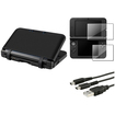 eForCity - Gel Skin Case Cover + 2-LCD Film + 2in1 USB Charging Cable Bundle For Nintendo 3DS XL - Black