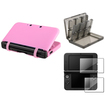 eForCity - Rubber Case Cover+28in1 Card Case Cover+2-LCD Screen Film Bundle f/ Nintendo 3DS XL Smoke/Pink