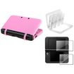 eForCity - Skin Gel Case Cover+2-LCD Screen Film+28in1 Card Case Cover Bundle f/ Nintendo 3DS XL White/Pink