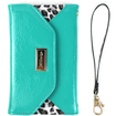 JAVOedge - Leopard Clutch Wallet Case with Wristlet for the Samsung Galaxy Note 3 - Turquoise Leopard