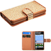 Insten - Diamonds Wallet Flip Case Cover w/ Card Slot For Huawei H881C Ascend Plus / Y301 Valiant - Gold Diamonds