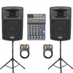 Podium Pro - New Powered Speakers with Bluetooth, Stands, Mixer and Cables PP1203ASET3B - Black