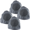 "Theater Solutions - Theater Solutions 4R8G Outdoor Yard 8"" Rock Speakers 4 Piece Set 2000 Watts - Gray"