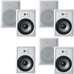 "Acoustic Audio - Acoustic Audio CS-IW830 In Wall 8"" Home 7 Speaker Set 3Way 2450 Watt CS-IW830-7S - White"