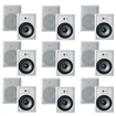 "Acoustic Audio - Acoustic Audio CS-IW820 In Wall 8"" Speakers 9 Pair Pack 2Way 5400W CS-IW820-9Pr - White"
