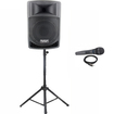 Podium Pro - Podium Pro PP806A Battery Powered Speaker MP3 400W Mic and Stand PP806A1SET2 - Black