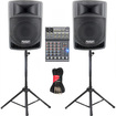 Podium Pro - Podium Pro PP806A Battery Powered Speakers 800W Mixer Stands Cables PP806ASET4 - Black