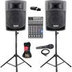 Podium Pro - Podium Pro PP806A Battery Powered Speakers, Bluetooth, Mixer, Mic + PP806ASET5B - Black