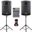 Podium Pro - Podium Pro PP1006A Battery Powered MP3 Speakers Mixer and More 1000W PP1006ASET4 - Black