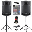 Podium Pro - Podium Pro PP1006A Battery Powered Speakers Mixer Bluetooth Mic ++ PP1006ASET5B - Black