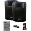 Podium Pro - Podium Pro PP1506A Battery Powered Speakers Mixer Bluetooth + 1800W PP1506ASET3B - Black