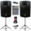 Podium Pro - Podium Pro PP1506A Battery Powered Speakers Mixer Mic Bluetooth ++ PP1506ASET5B - Black