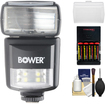 Bower - SFD970 2in1 Power Zoom Flash+LED Video Light for Nikon i-TTL w/Batts.+Charger+Diffuser+Cleaning Kit
