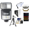 Bower - SFD970 2in1 Power Zoom Flash+LED Video Light for Nikon i-TTL+Batts.+Charger+Diffusers+Tripod+Acc Kit