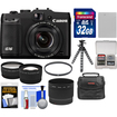 Canon - PowerShot G16 WiFi Digital Camera Black w/32GB Card+Case+Batt.+Flex Tripod+Filter+Tele/Wide Lens Kit