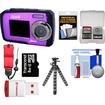 Coleman - Duo 2V7WP Dual Screen Shock+Waterproof Camera Purple+8GB Card+Reader+Float Strap+Flex Tripod+Acc Kit