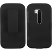 BasAcc - Rubberized Hybrid Belt Clip Holster Case for Nokia 822 Lumia - Black