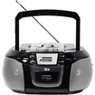 QFX - Portable Radio with CD Player Cassette and USB Slot - Black - Black