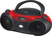 GPX - GPX BC232R RED BOOMBOX CD AM FM RADIO 3.5MM INPUT LED DISPLAY