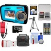 Coleman - Duo2V7WP Dual Screen Shock+Waterproof Cam Blue+8GB+Reader+Batt+Charger+Case+Strap+Tripod+Acc Kit