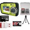 Coleman - Duo 2V7WP Dual Screen Shock+Waterproof Digital Camera (Green) w/8GB Card+Reader+Accessory Kit