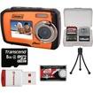 Coleman - Duo 2V7WP Dual Screen Shock+Waterproof Digital Camera (Orange) w/8GB Card+Reader+Accessory Kit