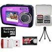 Coleman - Duo 2V7WP Dual Screen Shock+Waterproof Digital Camera (Purple) w/8GB Card+Reader+Accessory Kit