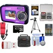 Coleman - Duo2V7WP Dual Screen Shock+Waterproof Cam Purple+8GB+Reader+Batt+Charger+Case+Strap+Tripod+Acc Kit