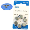 HQRP - Size 675 A675 Hearing Aids Batteries (6 Pack) + Coaster
