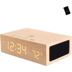 GOgroove - Wooden Bluetooth Stereo Speaker System & Alarm Clock w/ Temperature Sensor for HTC One M8 & More - Brown