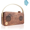GOgroove - WUD Retro Wood Bluetooth Speaker w/ Wireless NFC Technology & Microphone for Smartphones + More - Brown