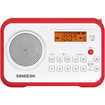 Sangean - FM-Stereo / AM Digital Tuning Portable Receiver - Red, White - Red, White