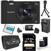 Sony - Bundle DSC-WX300/B Black 18.2MP Digital Camera with 20x Opt. Image Stabilized Zoom