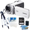 Samsung - HMX-F90 52X Optimal Zoom HD Camcorder White Kit
