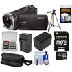 Sony - HDRCX330 1080p Full HD Video Camera Camcorder Black w/32GB Card+Battery+Charger+Case+Tripod Kit