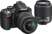 Nikon - D3200 DSLR Camera with 18-55mm VR and 55-200mm Lens - Black
